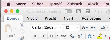 Pás s nástrojmi v programe Word pre Mac motív