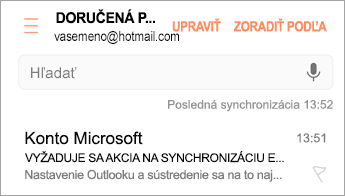 """Otvorenie e-mailu s informáciou """"Vyžaduje sa akcia"""""""