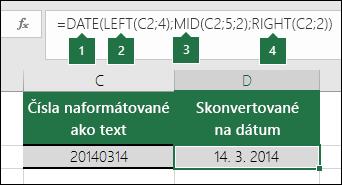 Konverzia textových reťazcov a čísel na dátumy