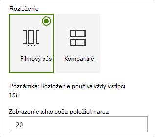 Výber rozloženia na table vlastností webovej časti udalosti.