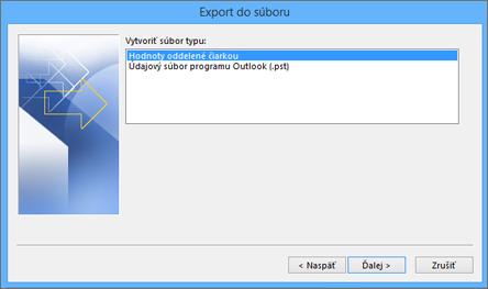 Sprievodca exportom v Outlooku – výber CSV súboru