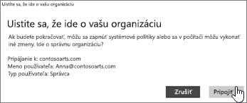 Na obrazovke Uistite sa, že ide o vašu organizáciu kliknite na položku Pripojiť sa