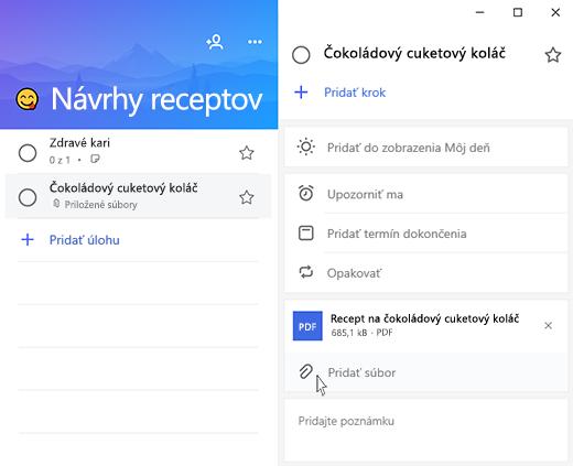 Snímka obrazovky aplikácie Microsoft to-do s otvoreným zobrazením podrobností a možnosť na pridanie zvýrazneného súboru