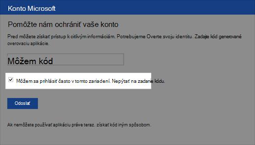 Snímka obrazovky dialógového okna dôveryhodného zariadenia