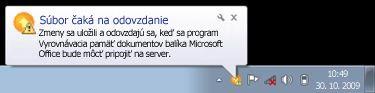 Kontextové oznámenie Centra ukladania na servery