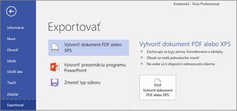 Možnosť Exportovať do formátu PDF na karte Súbor vo Visiu.