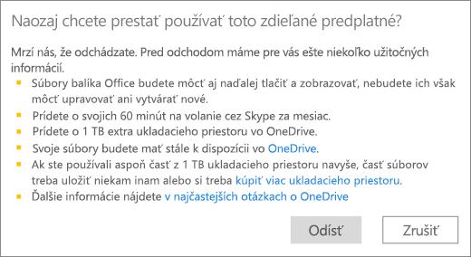 Snímka obrazovky spotvrdzovacím dialógovým oknom, ktoré sa zobrazí, keď ukončíte používanie predplatného na Office 365 Home, ktoré svami niekto zdieľa.