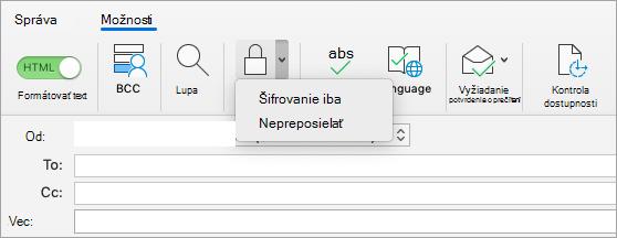 Zobrazenie tlačidla šifrovania v e-mailovej správe