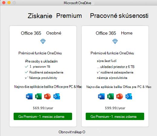 Snímka obrazovky so službou OneDrive získať dialógové okno Premium Experience