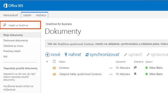 Snímka obrazovky spoľom dotazu One Drive v službách Office 365.