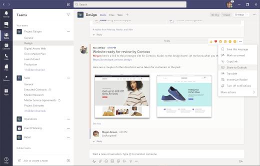 Zdieľanie konverzácie kanála v Outlooku