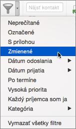 Použitie položky Zmienené vponuke Filtrovať e-maily na hľadanie e-mailov, vktorých sa niekto ovás @zmienil