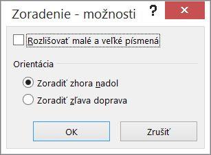 Vdialógovom okne Zoradenie kliknite na položku Možnosti