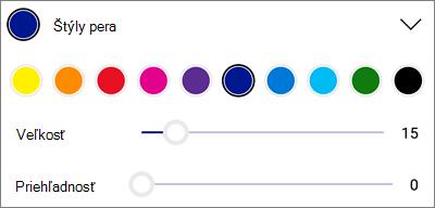 Štýly pera s označením vo OneDrive pre Android