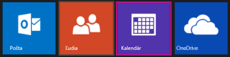Hlavná ponuka v službe Outlook.com – výber možnosti Kalendár