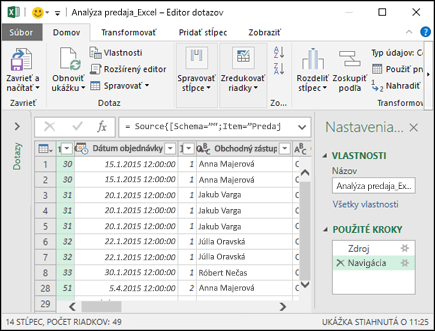 Na table Power Query Editor