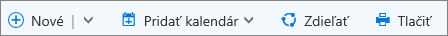 Panel príkazov kalendára vslužbe Outlook.com