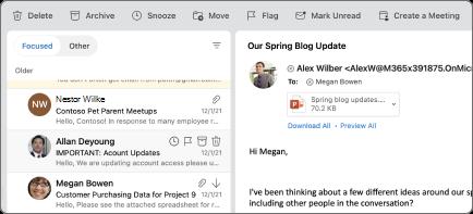 Tlačidlo Snooze v Outlooku pre Mac.