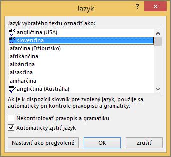 Dialógové okno Jazyk