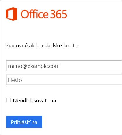 Snímka obrazovky prihlasovacej stránky služieb Office 365