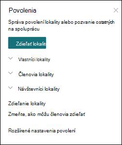 Panel s povoleniami lokality SharePoint