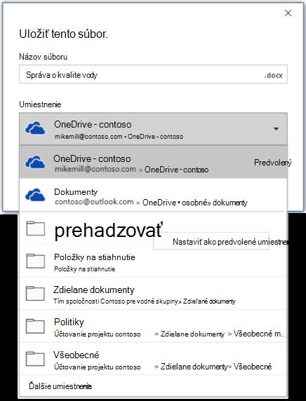 Snímka obrazovky s postupom nastavenia predvoleného umiestnenia vo Worde pri ukladaní nového súboru