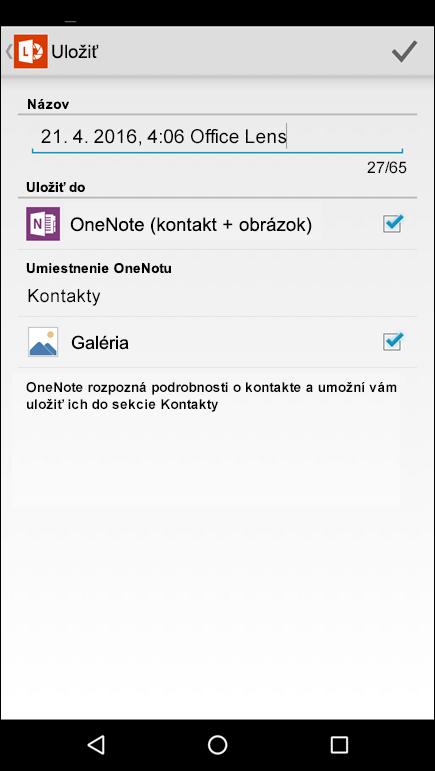 Snímka obrazovky funkcie exportu medzi kontakty vOffice Lens pre Android.