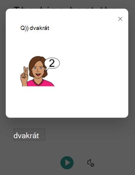 Obrázok zo slovníka obrázkov, ktorý sa zobrazuje v zobrazení Imerzná čítačka v aplikácii Microsoft Lens pre iOS.