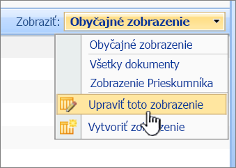SharePoint 2007 Zobraziť ponuku s upraviť toto zobrazenie zvýraznená