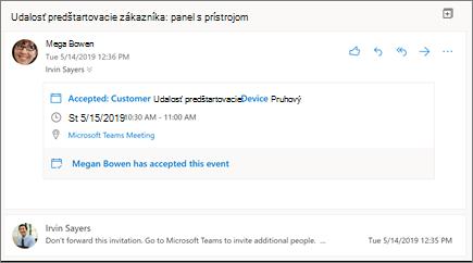 Tabla na čítanie v Outlooku na webe