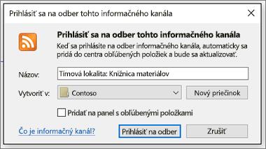 Dialógové okno Prihlásenie na odber kanála RSS, kde môžete zmeniť priečinky, do ktorých majú informačné kanály smerovať