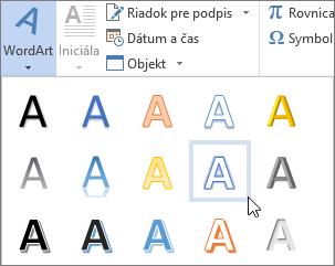 Výber možnosti objektu WordArt