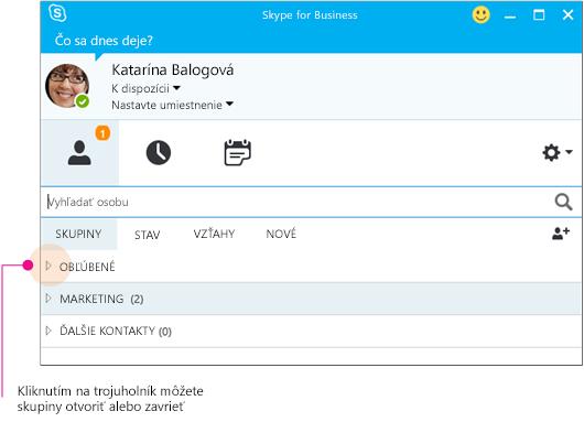 Hlavné okno Skypu for Business, kliknutím na trojuholník rozbalíte alebo zbalíte skupinu