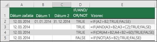 Príklady použitia funkcie IF s funkciami AND, OR a NOT na vyhodnotenie dátumov