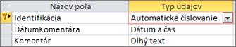 Primárny kľúč AutoNumber označený ako ID vnávrhovom zobrazení tabuľky vAccesse