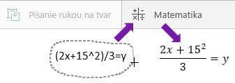 Zobrazuje sa napísaná rovnica, tlačidlo Matematika a skonvertovaná rovnica