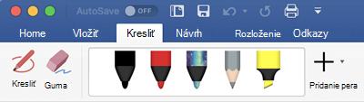 Perá a zvýrazňovače na karte kresliť v Office 365 pre Mac