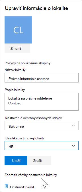 Zobrazenie všetkých nastavení lokality SharePoint