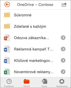 Súbory OneDrivu v balíku Office Mobile
