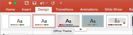 Snímka obrazovky sMotívom balíka Office na karte Návrh