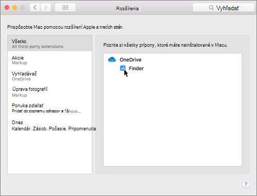 Snímka obrazovky sdialógovým oknom Prípony vsystémových preferenciách vMacu