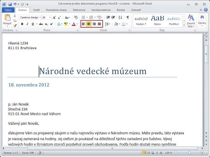Dokument programu Word 2010