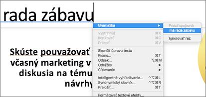 Slová podčiarknuté modrou farbou skontextovou ponukou zobrazujúcou gramatické návrhy