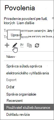 Zobrazenie vybratej roly Používateľ zabezpečenia služby a potom výber ikony úprav.