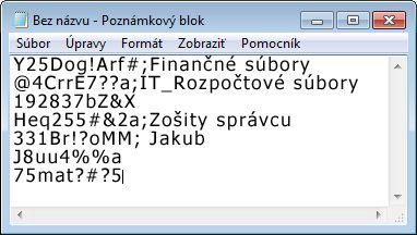 Zoznam s heslami v súbore programu Poznámkový blok