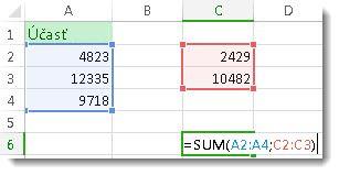Použitie funkcie SUM sdvoma rozsahmi čísel