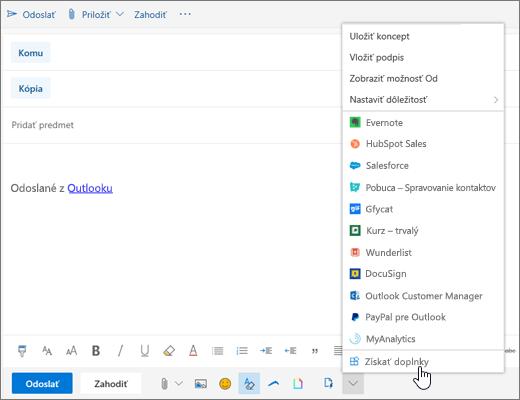 Snímka obrazovky s e-mailovou správou a vybratou možnosťou Získať doplnky.