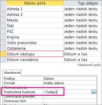 Nastavenie predvolenej hodnoty poľa Dátum a čas v accessovej tabuľke.
