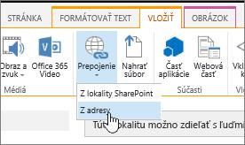 Vloženie prepojenia pomocou webovej adresy