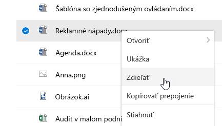 Snímka obrazovky s kontextovou ponukou pre vybratý súbor a zvýrazneným príkazom Zdieľať